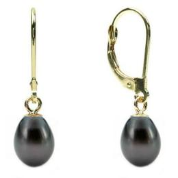 Cercei Teardrops Negri cu Tortita de Aur - Cadouri si Perle
