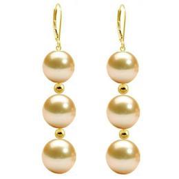 Cercei Tripli Aur de 14 karate si Perle Naturale Crem Premium - Cadouri si Perle