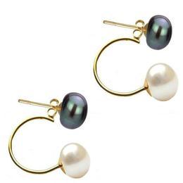 Cercei Double de Aur de 14k cu Perle Naturale Negre si Albe - Cadouri si Perle