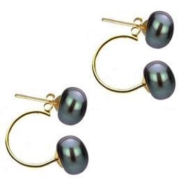 Cercei Double de Aur de 14k cu Perle Naturale Negre de 7 mm - Cadouri si Perle