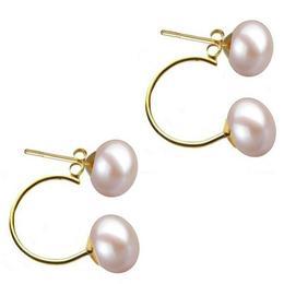 Cercei Double de Aur de 14k cu Perle Naturale Lavanda de 7 mm - Cadouri si Perle