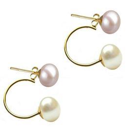 Cercei Double de Aur de 14k cu Perle Naturale Lavanda si Albe - Cadouri si Perle