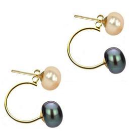 Cercei Double de Aur de 14k cu Perle Naturale Crem si Negre - Cadouri si Perle