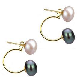 Cercei Double de Aur de 14k cu Perle Naturale Lavanda si Negre - Cadouri si Perle