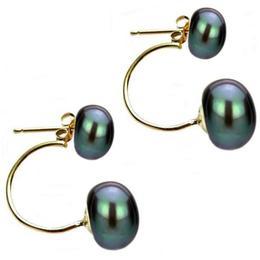 Cercei Double de Aur de 14k cu Perle Naturale Negre - Cadouri si Perle