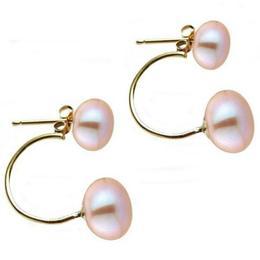 Cercei Double de Aur de 14k cu Perle Naturale Lavanda - Cadouri si Perle