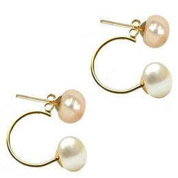 Cercei Double de Aur de 14k cu Perle Naturale Crem si Albe - Cadouri si Perle