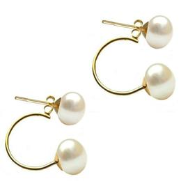 Cercei Double de Aur de 14k cu Perle Naturale Albe de 7 mm - Cadouri si Perle