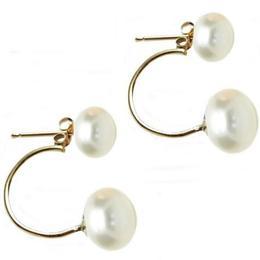 Cercei Double de Aur de 14k cu Perle Naturale Albe - Cadouri si Perle
