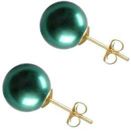 Cercei de Aur cu Perle Premium AAA Verde Smarald - Cadouri si Perle
