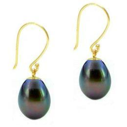 Cercei de Aur cu Perle Negre - Cadouri si Perle