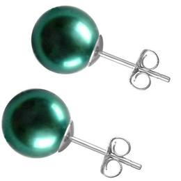 Cercei de Aur Alb cu Perle Premium Verde Smarald - Cadouri si Perle