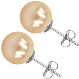 Cercei de Aur Alb cu Perle Premium Crem - Cadouri si Perle