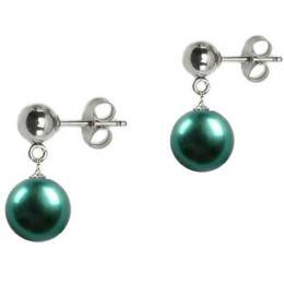 Cercei de Aur Alb cu Perla Naturala Verde Smarald - Cadouri si Perle