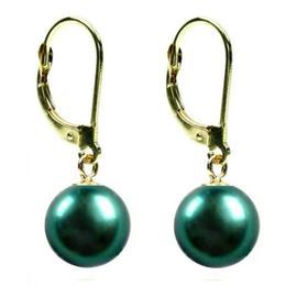 Cercei Aur si Perle Naturale Verde-Smarald - Cadouri si Perle