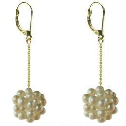 Cercei Aur Lungi cu Tortita Inchisa si Bulgarasi Perle Naturale Albe - Cadouri si Perle