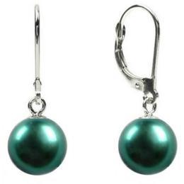 Cercei Aur Alb de 14k si Perle Naturale Verde Smarald - Cadouri si Perle