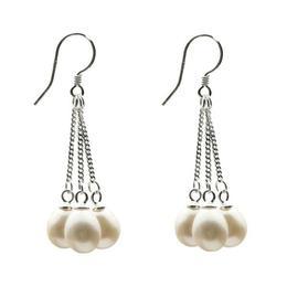 Cercei Argint Lungi Tripli Albi - Cadouri si Perle