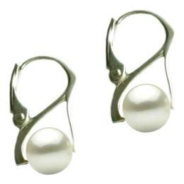 Cercei Argint cu Perle Naturale Albe Premium de 8 mm - Cadouri si Perle