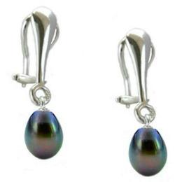 Cercei Argint Clips cu Perle Naturale Teardrops Negre - Cadouri si Perle