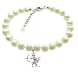 Bratara Zodiac Sagetator cu Perle Naturale Albe 7 mm - Cadouri si Perle
