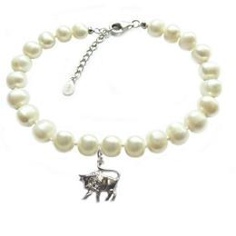 Bratara Zodiac Taur cu Perle Naturale Albe 7 mm - Cadouri si Perle