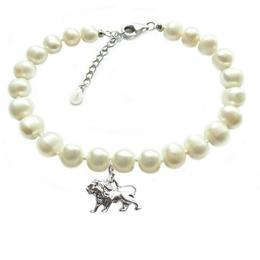 Bratara Zodiac Leu cu Perle Naturale Albe 7 mm - Cadouri si Perle