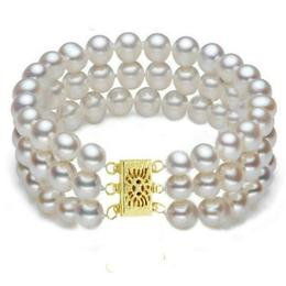 Bratara Tripla Aur Galben si Perle Naturale Albe Premium de 7-8 mm - Cadouri si Perle
