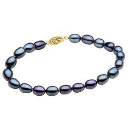 Bratara Perle Naturale Ovale Negre cu Inchizatoare Aur Galben - Cadouri si Perle