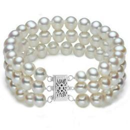 Bratara Tripla Aur Alb si Perle Naturale Albe Premium de 7-8 mm - Cadouri si Perle