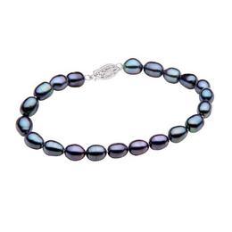Bratara Perle Naturale Ovale Negre cu Inchizatoare Aur Alb - Cadouri si Perle