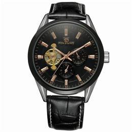 Ceas barbatesc Forsining curea din piele neagra mecanism automatic-mecanic stil Business + cutie cadou