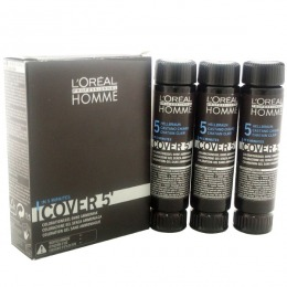 Gel Colorant pentru Barbati - Saten Deschis - L'Oreal Professionnel Homme Cover 5' Hair Color Gel, nuanta 5 Light Brown, 3 x 50ml