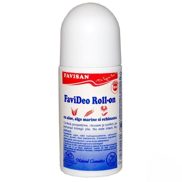 Deodorant Roll-On cu Aloe, Alge Marine si Echinacea Favideo Favisan, 50ml imagine produs