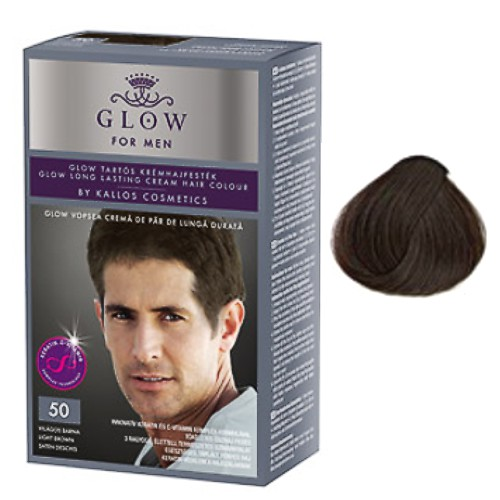Vopsea Permanenta pentru Barbati - Kallos Glow For Men Long Lasting Cream Hair Colour Nuanta 50 Saten Deschis imagine produs