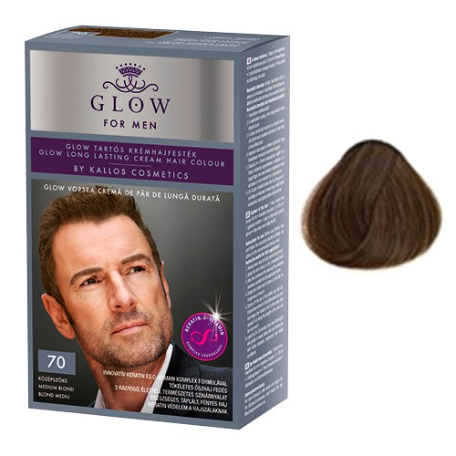 Vopsea Permanenta pentru Barbati - Kallos Glow For Men Long Lasting Cream Hair Colour Nuanta 70 Blond Mediu imagine produs
