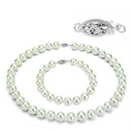 Set Business Perle Naturale cu Inchizatoare Aur Alb Filigranata - Cadouri si Perle