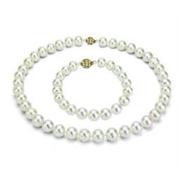 Set Business Perle Naturale cu Inchizatoare Aur Galben Sferica - Cadouri si Perle