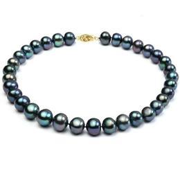 Colier Perle Naturale Negre Mari cu Inchizatoare de Aur - Cadouri si Perle