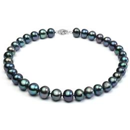 Colier Perle Naturale Negre Mari cu Inchizatoare Aur Alb de 14k - Cadouri si Perle