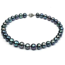 Colier Perle Naturale Negre Mari cu Inchizatoare Sferica Aur Alb de 14k - Cadouri si Perle