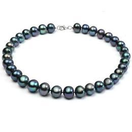 Colier Perle Naturale Negre Mari cu Inchizatoare Argint - Cadouri si Perle