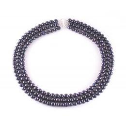 Colier Triplu din Perle Naturale Negre - Cadouri si Perle