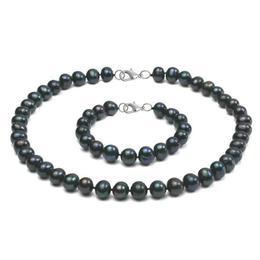 Set Argint 925 si Perle Naturale Negre Mari - Cadouri si Perle