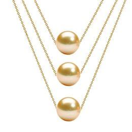 Colier Triplu Aur 14 karate si Perle Naturale Crem Premium - Cadouri si Perle