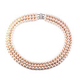 Colier Triplu Perle Naturale Crem - Cadouri si Perle