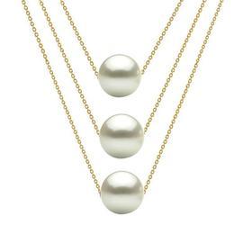 Colier Triplu Aur 14 karate si Perle Naturale Albe Premium - Cadouri si Perle