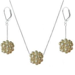 Set Argint Bulgaras cu Perle Naturale Albe Calitatea AAA - Cadouri si Perle