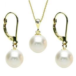 Set Aur 14 k cu Perle Naturale Albe - Cadouri si Perle