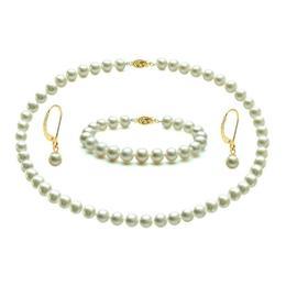 Set Aur 14 karate cu Perle Naturale Albe, de Colectie - Cadouri si Perle